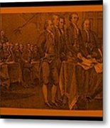 Declaration Of Independence In Orange Metal Print