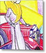 Deco Lady With Auto Metal Print