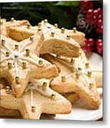 Decorated Christmas Cookies In Festive Setting Metal Print