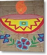 Decorative Earthen Diya Rangoli Metal Print