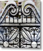 Decorative Iron Gate In Winter Metal Print