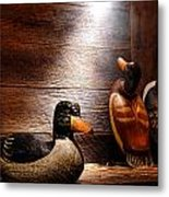 Decoys In Old Hunting Cabin Metal Print