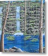 Deer By Falls And Vines Metal Print