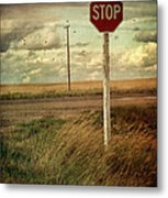 Deserted Red Stop Sign On The Prairies Metal Print by Sandra Cunningham