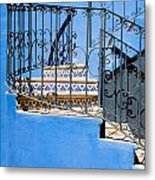 Design In Blue Metal Print