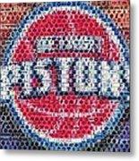 Detroit Pistons Mosaic Metal Print