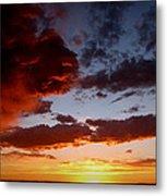 Developing Storm At Sunset Metal Print