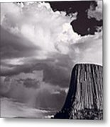 Devils Tower Wyoming Bw Metal Print