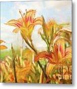 Digital Painting Of Orange Daylilies Metal Print
