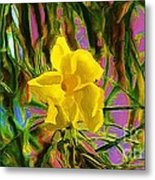 Digital Painting Of Yellow Orchid Metal Print
