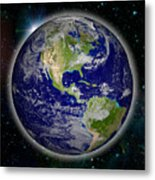 Digitally Generated Image Of Planet Earth Metal Print