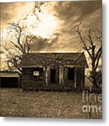 Dilapidated Old Farm House . 7d10341 . Sepia Metal Print