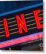 Diner Sign In Neon Metal Print