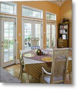 Dining Table In Kitchen Metal Print by Andersen Ross