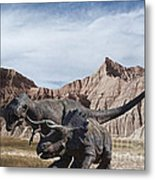 Dino's In The Badlands Metal Print