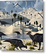 Dinosaurs Gather At A Life Saving Oasis Metal Print
