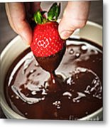 Dipping Strawberry In Chocolate Metal Print