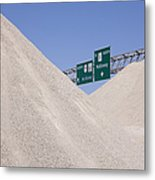 Dirt Mounds With Highway Signs In Background Metal Print by Jeremy Woodhouse
