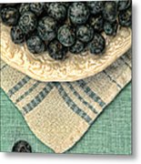 Dish Of Fresh Blueberries Metal Print