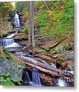 Distant Ozone Falls And Rapids In Autumn Metal Print