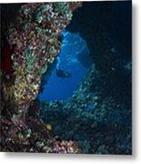 Diver At Boo Windows In Raja Ampat Metal Print