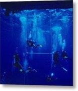 Divers Decompressing Beneath A Boat Metal Print