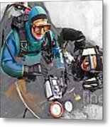 Diving In The Ice Metal Print