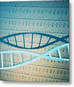 Dna And A Genetic Sequence Metal Print