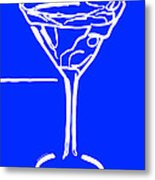 Do Not Panic - Drink Martini - Blue Metal Print by Wingsdomain Art and Photography