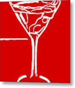 Do Not Panic - Drink Martini - Red Metal Print by Wingsdomain Art and Photography