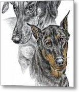Dober-friends - Doberman Pinscher Portrait Color Tinted Metal Print