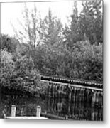 Dock On The River In Black And White Metal Print