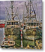 Docked Fishing Boats Hdr Metal Print