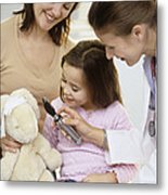 Doctor And Child Playing Metal Print