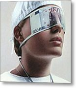 Doctor Blinded By Money, Conceptual Image Metal Print