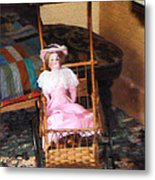 Doll In Carriage Metal Print