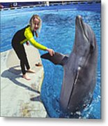 Dolphin And Child Metal Print