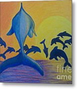 Dolphins Leaping Metal Print