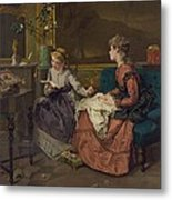 Domestic Scene With Two Girls, One Metal Print