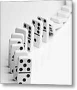 Dominoes Falling Over In A Chain Reaction Metal Print