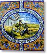 Don Quixote In Spanish Tile Metal Print