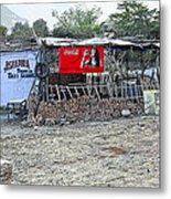 Donkey Day Roadside Cafe Metal Print