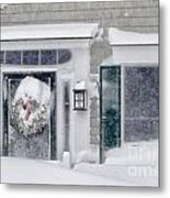 Door And Window Of Cape Cod Home During Blizzard Of '05 Metal Print