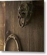 Door Knocker Of The Basilica Saint-julien. Brioude. Haute Loire. Auvergne. France. Metal Print