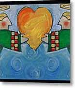 Double Angels With Heart Metal Print