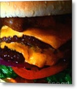 Double Cheeseburger With Bacon - Painterly Metal Print