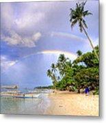 Double Rainbow At The Beach Metal Print by Yhun Suarez
