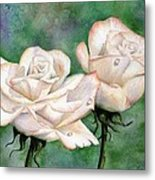 Double Roses Metal Print