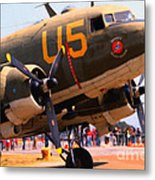 Douglas C47 Skytrain Military Aircraft . Painterly Style . 7d15774 Metal Print by Wingsdomain Art and Photography