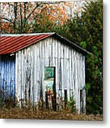Down On The Farm - Old Shed Metal Print